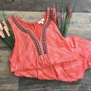 NWOT Umgee V Neck Sleeveless Coral Dress